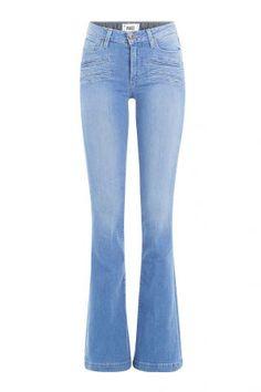 Paige Paige Flared-Jeans aus Baumwoll-Stretch – Blau