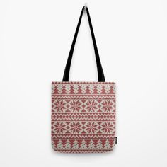 Traditional Christmas Pattern Tote Bag by refreshdesign Tote Pattern, Christmas Art, Christmas Traditions, Reusable Tote Bags, Traditional, Stuff To Buy
