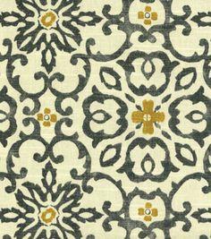 Home Decor Print Fabric-HGTV HOME Souvenir Scroll Fog -- for the LR/DR curtains?