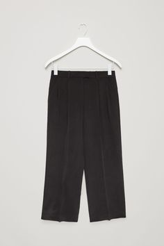 COS image 4 of Wide-leg silk trousers in Black