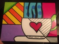 Individuales arte Romero Britto Coffee Cup Art, Arte Country, Valentines Art, Diy Canvas, Heart Art, Drawing For Kids, Art Plastique, Artist Art, Rock Art