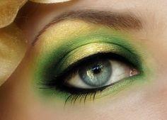 Green + Yellow Eyeshadow with Black Eyeliner