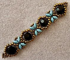 "SUNFLOWER BRACELET 11/0 seed beads Miyuki ""Dark Bronze"" (11-457D) 8/0 seed beads Miyuki ""Dark Bronze"" (8-457D) 8mm round crystals ""BlacK"" (from Beads One) SuperDuo beads ""Blue Luster"" Watch HoneyBeads1's YouTube video tutorial for her ""Sunflower Bracelet"