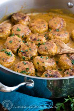 Chicken Meatballs in a Cream Sauce | natashaskitchen.com