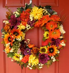 Tuscan Sunflowers and Poppies Autumn Wreath by IrishGirlsWreaths- SOLD!