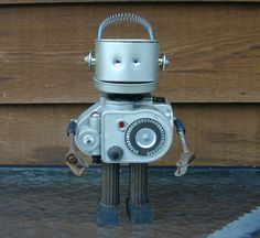 TAKE 10% OFF Summer Sale REVERE Found Object Robot Sculpture Assemblage