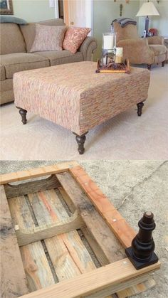 Pallet Furniture Beautiful DIY Ottoman From a Pallet and a Mattress Topper! - A Piece Of Rainbow - Make an beautiful DIY ottoman from a pallet and a mattress topper easily! Plus creative variations on upholstery fabric, furniture legs, and design styles. Furniture Legs, Pallet Furniture, Furniture Projects, Rustic Furniture, Furniture Makeover, Home Furniture, Furniture Stores, Antique Furniture, Furniture Buyers