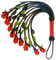 A Cat o'Nine Tails with Red Leather Roses on the Tips