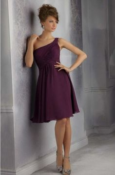 20 One Shoulder Bridesmaid Dresses For Fall Weddings: #17. Simple but chic purple mini dress