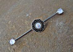 Tribal Glitter Opal Industrial Barbell Scaffold Piercing 14ga Body Jewelry Piercing Jewelry