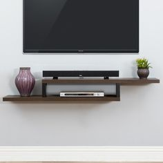 "Martin Home Furnishings Ascend 60"" Asymmetrical Wall Mounted TV Component Shelf & Reviews 