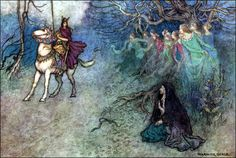"""Art by Warwick Goble (1912) - """"The Knight & The Old Woman."""""""