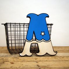 Blue Carnival Style Wood Letter A by EdiesLab on Etsy, $35.00