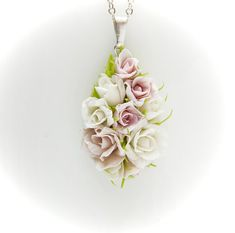 Pendant with flowers from polymer clay, wedding pendant, shades of white and pink flowers, roses, floral pendants, bright jewelry