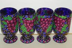 Hand Painted Artist Signed 4 Unique Stem Glasses Pink Grapes detailed Art DGF40 Detail Art, Recycled Materials, Candle Holders, Hand Painted, Candles, Inspired, Glasses, Wood, Unique