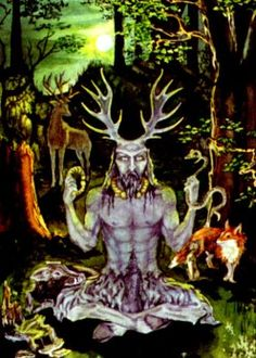 Cerunnos the Celtic god of life, wealth, animals, fertility, and the underworld. He is the Horned God, and symbolizes the element of Earth, love, luck, and fertility.