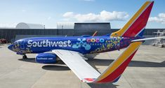 Pixar recently partnered with Southwest Airlines to unveil an aircraft decked out in full Coco design - watch a video and read additional details. Southwest Airlines Reservations, Airline Reservations, Boeing Aircraft, Passenger Aircraft, Aviation Center, Ticket Design, Airplane Photography, Airplane Art, Airplane Design