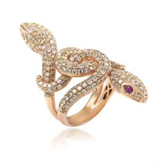 18K Rose Gold Diamond and Ruby Double Headed Snake Ring  | TrueFacet