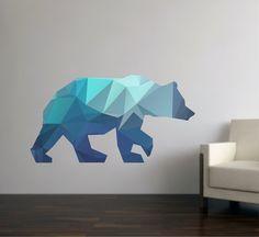 Bear Wall Decal Geometric Bear Decal Modern Bear Wall
