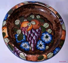 Charlotte Rhead 1920's Rare 'Pomona' Pattern# 456 Rimmed Bowl Bursley Ware (Wood & Sons)   Moorcroft Style tube-lined with hand enamelled vividly coloured fruit and flowers on a sponged background   Sale £89.99   International Shipping #charlotte_rhead #moorcroft #art_nouveau