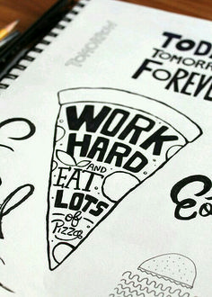 Handlettering ~ work hard and eat lots of pizza Hand Lettering Quotes, Typography Quotes, Typography Inspiration, Typography Letters, Brush Lettering, Typography Design, Calligraphy For Beginners, Beautiful Lettering, Word Art
