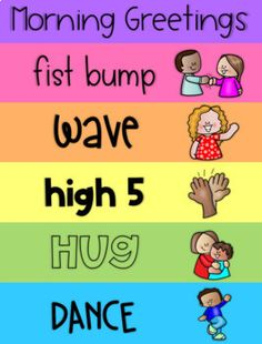 Morning Greeting Signs and Poster by Less Work More Play Teachers Pay Teachers Preschool Classroom Themes, Classroom Rules, First Grade Classroom, Classroom Behavior, Kindergarten Classroom, Preschool Class Rules, Preschool Behavior Management, Morning Meeting Kindergarten, Preschool Teachers