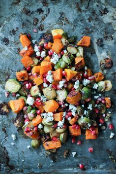 Chili & Maple-Roasted Butternut Squash and Brussels Sprouts with Pomegranate and Gorgonzola