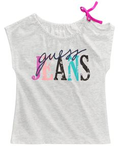 Guess Graphic-Print Shoulder-Tie Shirt, Big Girls Kids Girls Tops, Shirts For Girls, Kids Shirts, Tied Shirt, Girls Blouse, Plus Size Girls, Printed Shirts, Kids Outfits, Kids Fashion