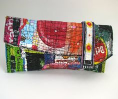 Clutch Bag Upcycled Brightly Colored Red Green by itzaChicThing