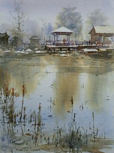 Kai Fine Art is an art website, shows painting and illustration works all over the world. Watercolor Architecture, Watercolor Landscape, Landscape Art, Landscape Paintings, Fine Motor Activities For Kids, Easy Watercolor, Watercolour Painting, Indian Artist, Walking In Nature
