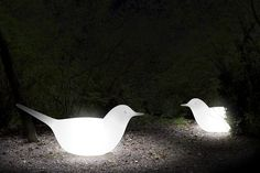 This illuminated white bird is a whimsical addition to any garden and while also providing light can be used as a seat!