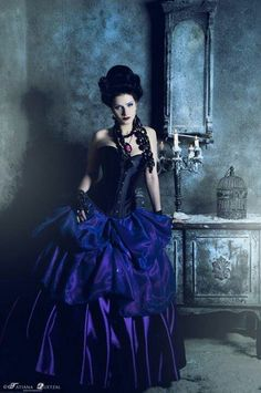 beautiful black w midnight blue goth victorian gown