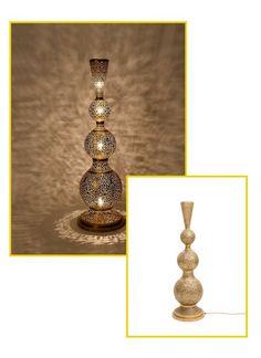 Authentic Handmade Moroccan Table Lamp - lamp, oriental Arabic pattern, golden copper, by farahdecorsoudage on Etsy Moroccan Floor Lamp, Moroccan Lighting, Moroccan Decor, Copper Lamps, Brass Pendant Light, Bohemian Lamp, Stencil Designs, Centre Pieces, Brass Color
