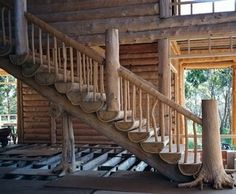 log-cabins:  Log stairs beautiful stair case
