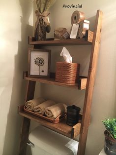 This listing is for an over-the-toilet ladder shelf. Its a great space saver. It does ship disassembled so please read the rest of the description. We do have some Dark Walnut stained ladder shelves that ship within 1 business day that you can view here: Bathroom Organization, Bathroom Storage, Small Bathroom, Bathroom Ideas, Neutral Bathroom, Bathroom Ladder Shelf, Cozy Bathroom, Minimal Bathroom, Brown Bathroom