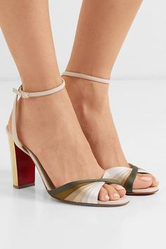 Christian Louboutin - Naseebasse 85 Satin And Leather Sandals - Tan Shoes For School, Pointed Heels, Sexy Heels, Christian Louboutin Shoes, Luxury Shoes, Girls Shoes, Ladies Shoes, Women's Pumps, Womens Fashion