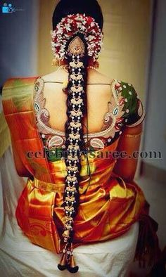 Bride in Leafy Work Blouse South Indian Wedding Hairstyles, South Indian Weddings, Bride Hairstyles, Hairstyle Wedding, Saree Blouse Patterns, Indian Bridal Fashion, Bridal Blouse Designs, Bridal Hair Accessories, Wedding Jewelry