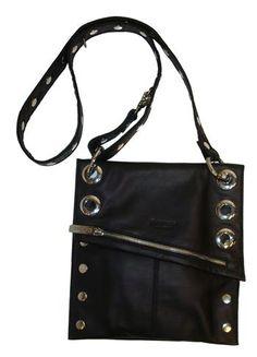 Hammitt Los Angeles Roxbury Black Leather With Silver Hardware Adjule Crossbody Strap