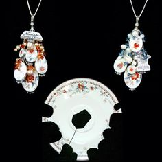 Broken china made into earrings.