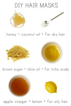 DIY Hair Masques  -All are made from natural, whole food ingredients. These three masques address the most common complaints: Dry Hair, Itchy Scalp, and Oily Hair.