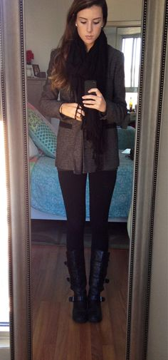 Heart means everything ....Cozy ootd! Oversized blazer: urban outfitters, leggings and scarf: the gap, boots: wanted