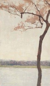 """""""Cherry Tree Beside the Potomac River,"""" 12x7 inches, Oil on Linen Panel"""