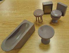 Vtg Doll House Miniature Jaymar Happy Hour Wooden Bath Room Furniture in box | eBay