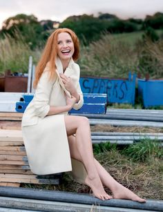 """jessicachastaindaily:  Jessica Chastain photographed on set of The Huntsman by Mary McCartney for VOGUE UK. Just near the Welsh border, in the rolling hills of the Wye Valley, a focused Jessica Chastain is practising lines for The Huntsman in her trailer. The actress likes to bring comforts from her LA home on to the set: a scented candle, a Vitamix (Chastain is a dedicated vegan), and her three-legged pup, Chaplin, can usually be found in her roving office. """"The wonderful thing about the…"""