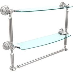 Dottingham Collection 18 inch 2-Tiered Glass Shelf with Integrated Towel Bar (Build to Order)