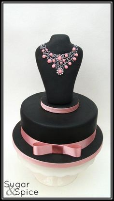 Mikimoto Conch Pearl & Diamond Inspired Necklace Jewellery cake black and pink
