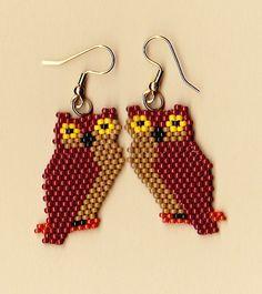 Native American Beaded Brown Owl Earrings