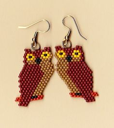 Native American Beaded Brown Owl Earrings