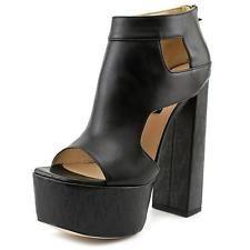 Ruthie Davis Disco Women  Open Toe Leather Black Platform Heel