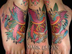 Amazing swallow tattoo on foot